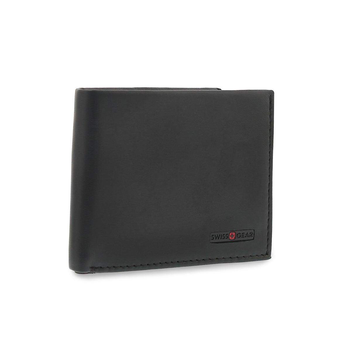 Men's black billfold coin pocket wallet