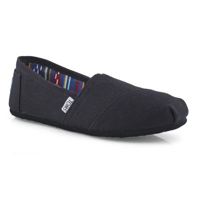 Lds Classic black/black canvas loafer
