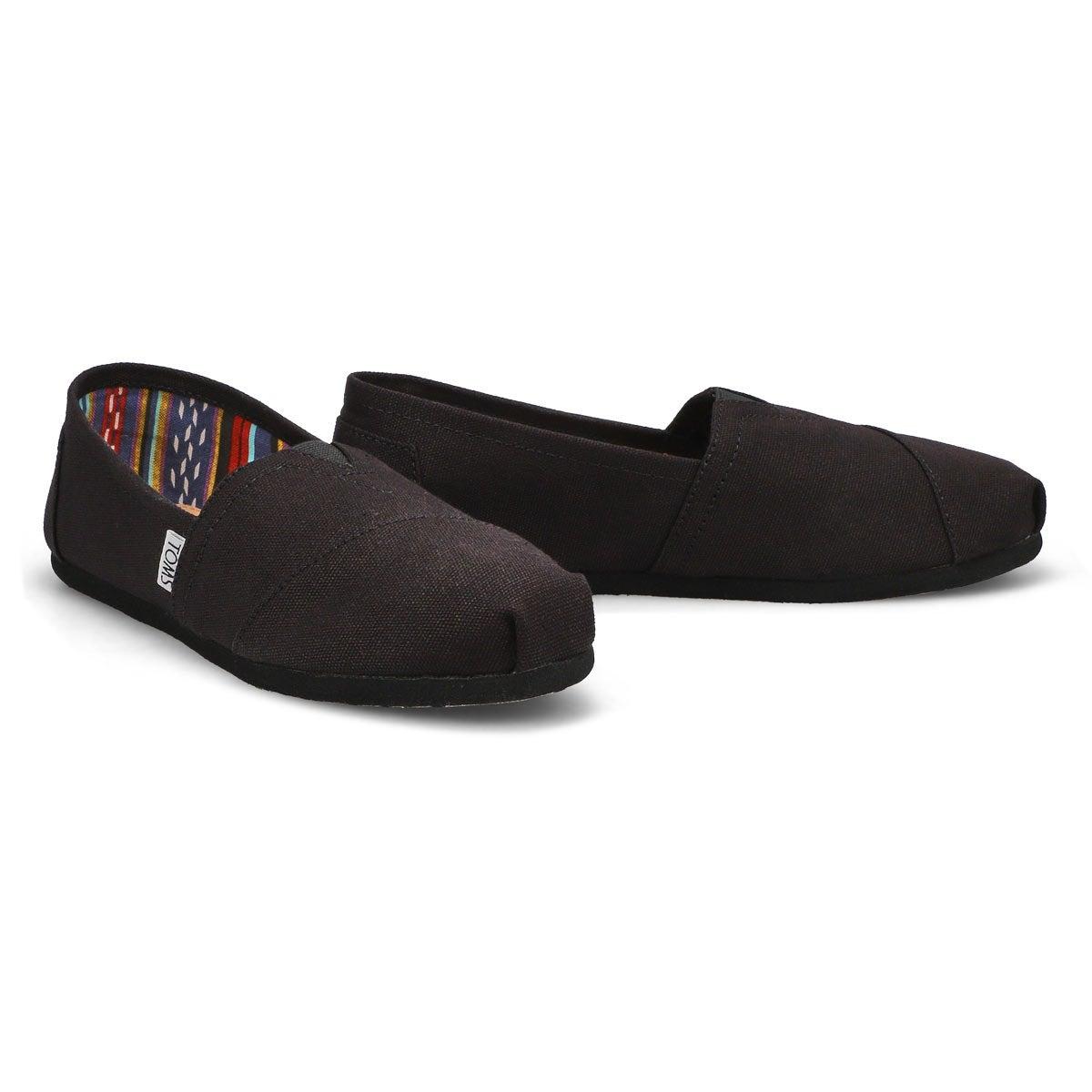 Lds Classic black/black canvas loafer
