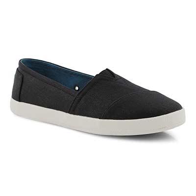 Lds Avalon black canvas loafer