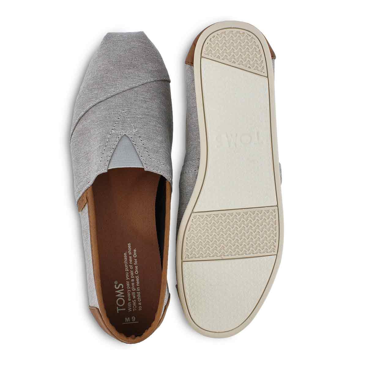 Mns Classic Lthr Trim grey casual loafer