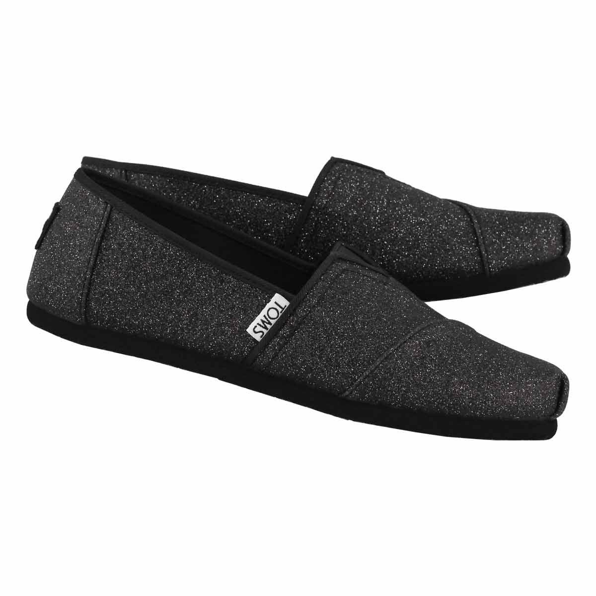 Grls Classic Seasonal blk glimmer loafer