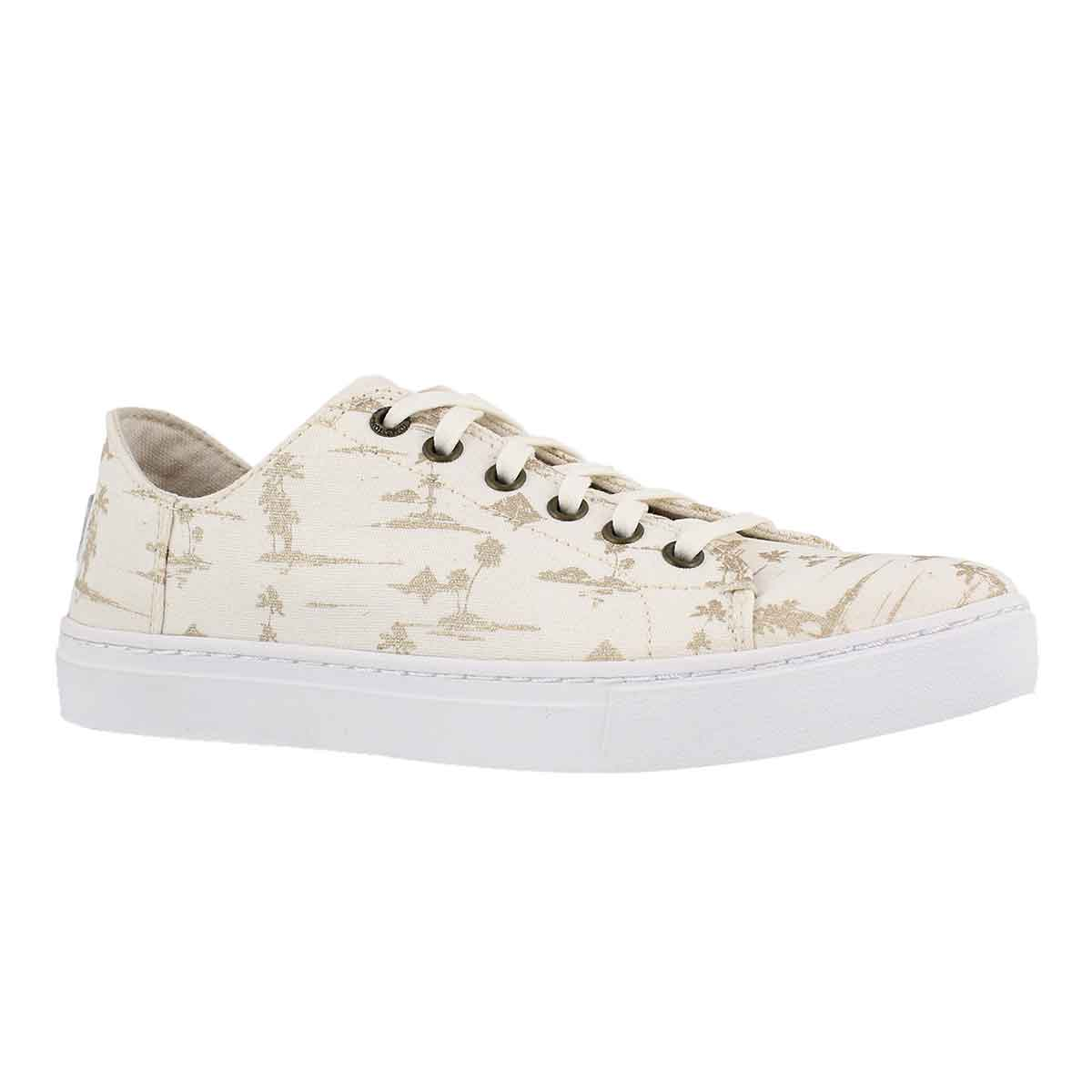 Lds Lenox wht/gld lace up casual sneaker