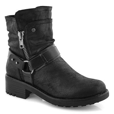 Lds Tambi black slip on combat boot