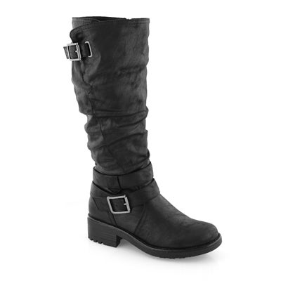 Lds Tanya black wide shaft mid calf boot
