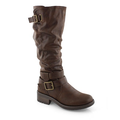 Lds Tanya brown wide shaft mid calf boot