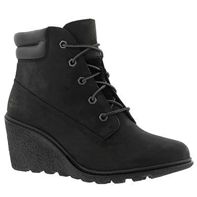 Timberland Women's AMSTON black lace up wedge boots