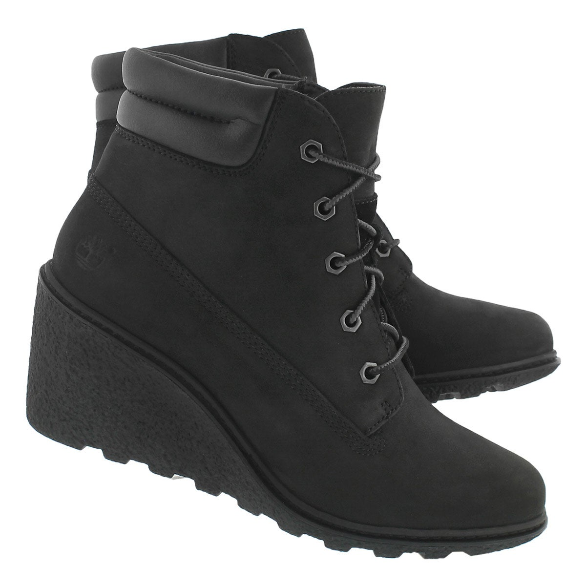 Lds Amston black lace up wedge boot