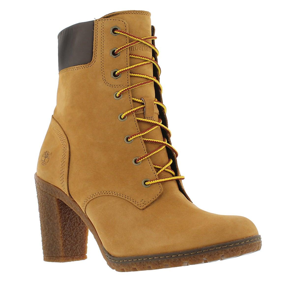 Women's GLANCY laced wheat nubuck boots