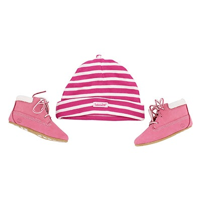 Timberland Bottines et tuque CRIB BOOTIE with HAT, rose, bébé