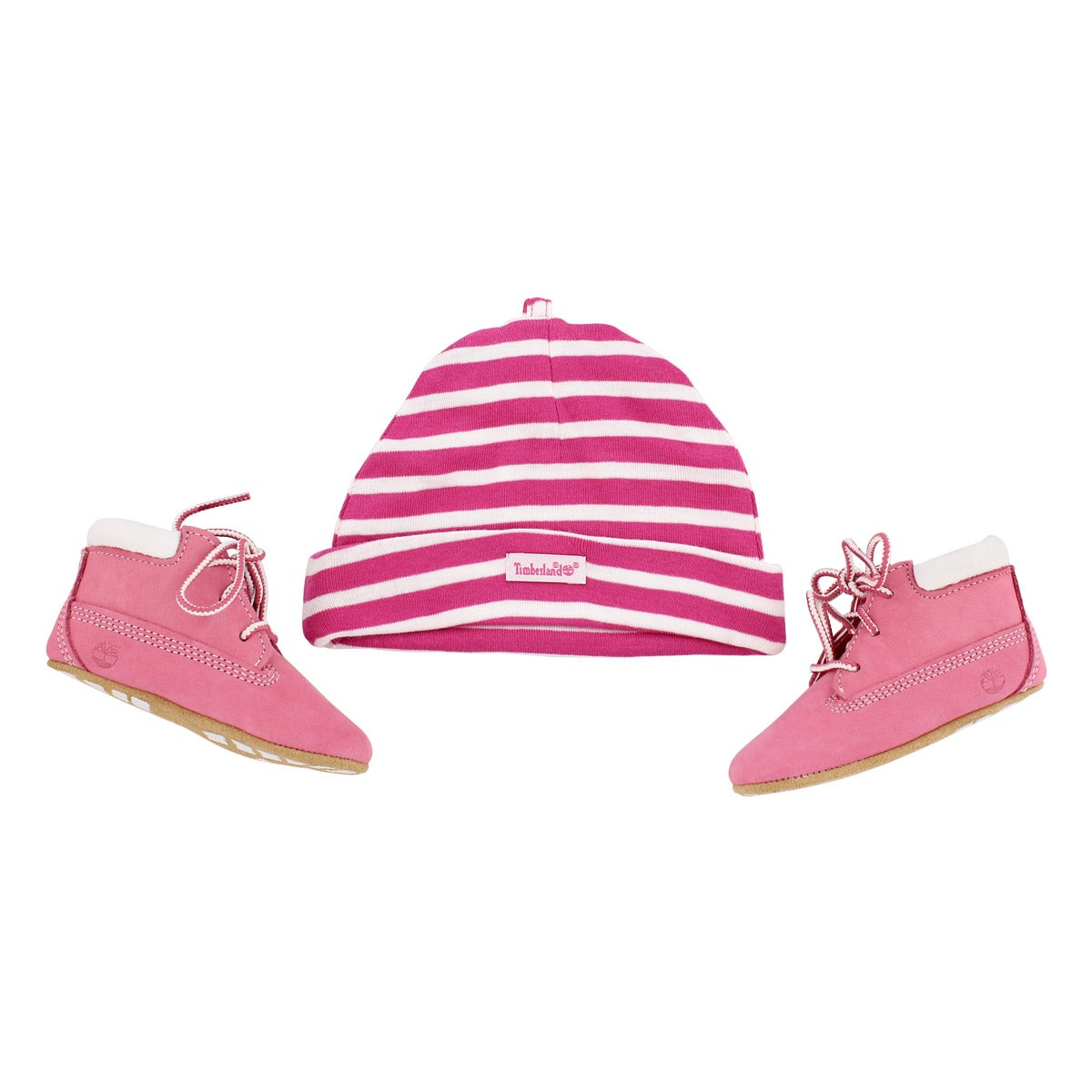 Infs pink Crib Bootie with hat