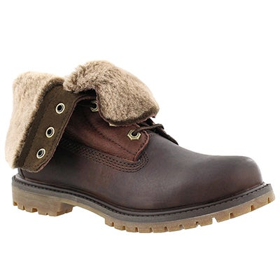 Timberland Women's AUTHENTICS SHEARLING fold dark brown boots