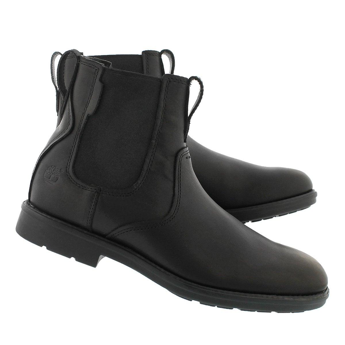 Mns Carter Notch blk chelsea boot- wide