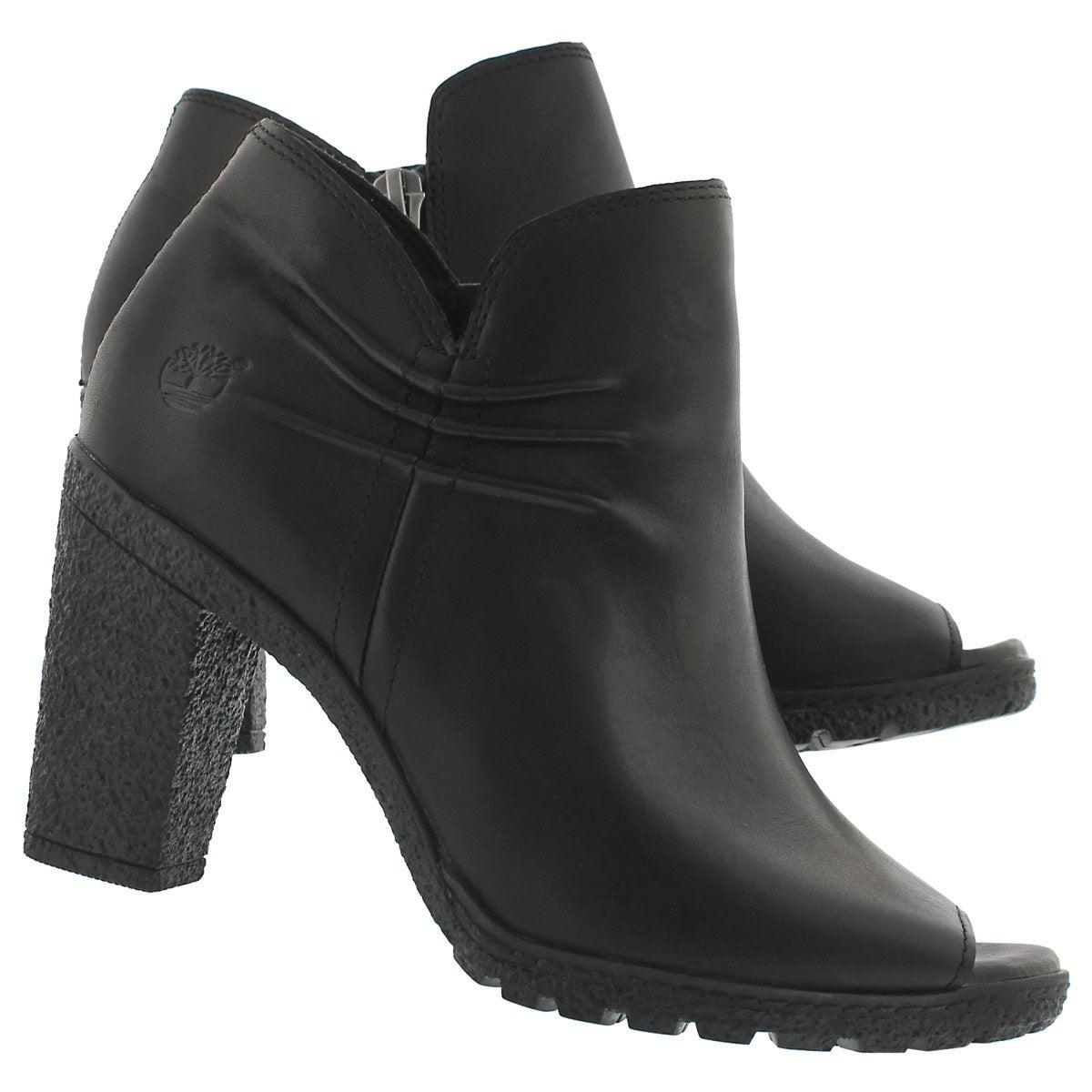 Lds Glancy black peep toe dress heel