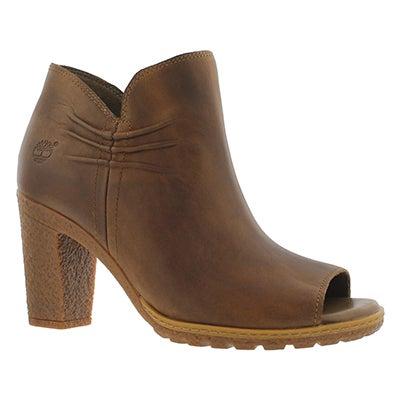 Lds Glancy brown peep toe dress boot