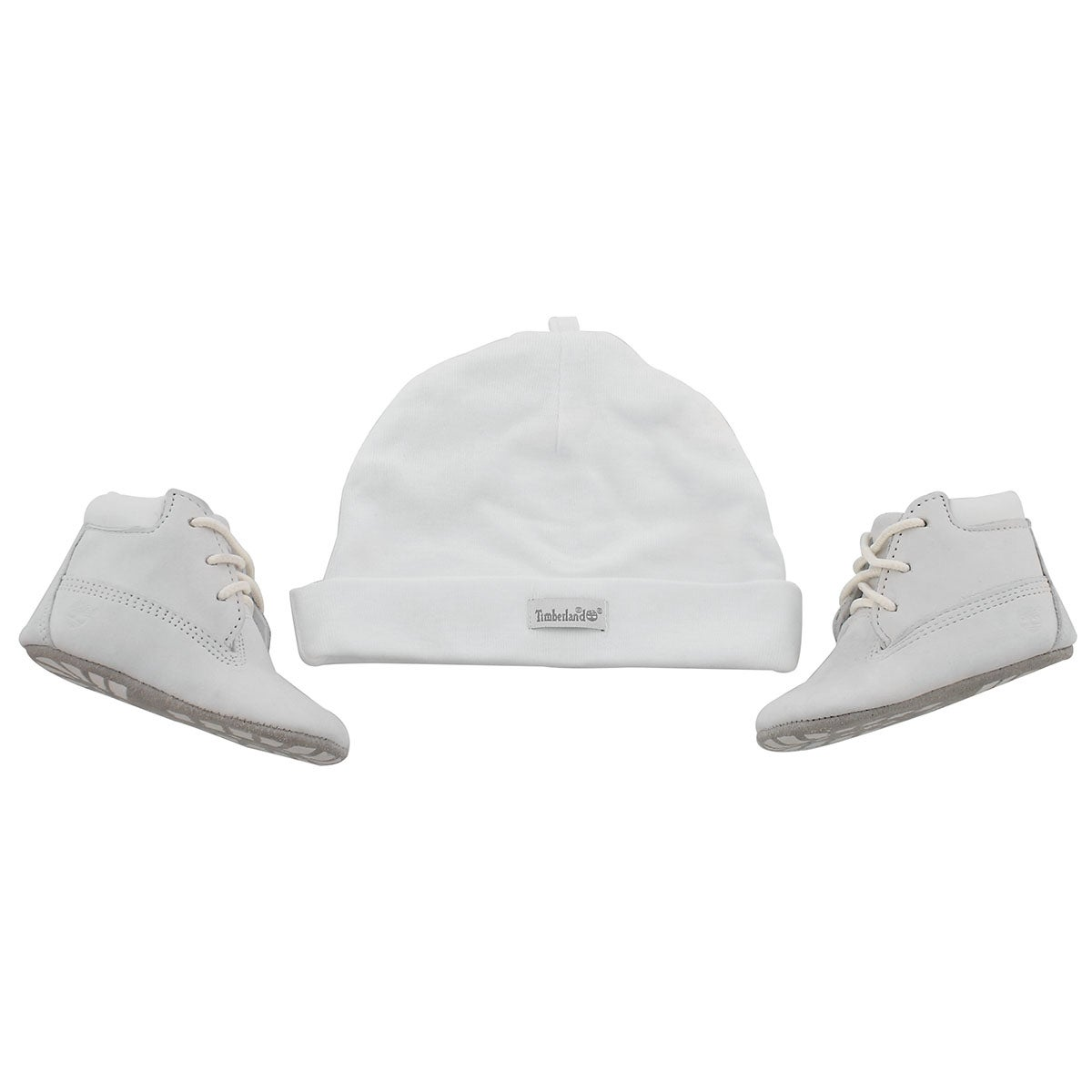 Infs white Crib Bootie with hat