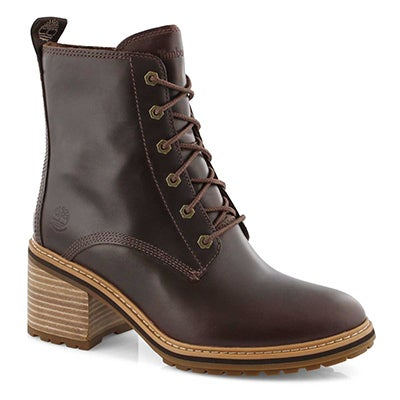 Lds Sienna High dk brn wtpf heel boot