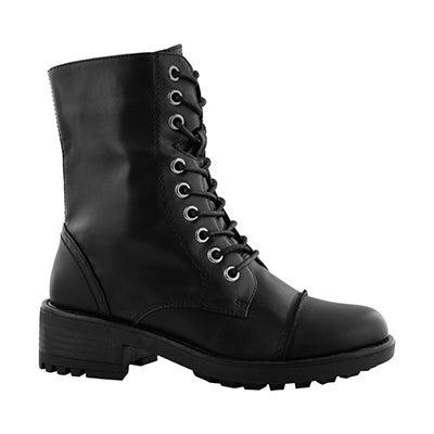 Grls Tegan black lace up combat boot