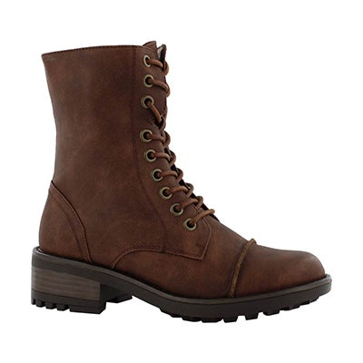 Grls Tegan brown lace up combat boot