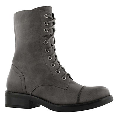Lds Tegan grey lace up combat boot