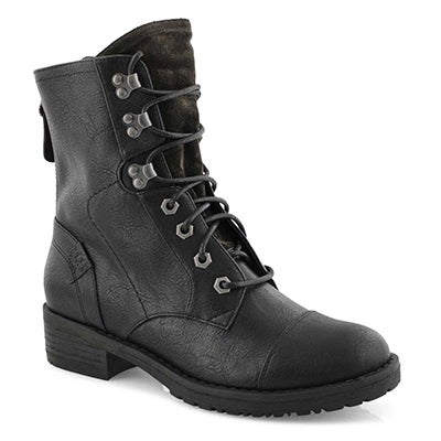 Lds Tegan 2 black lace up combat boot