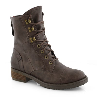 Lds Tegan 2 brown lace up combat boot