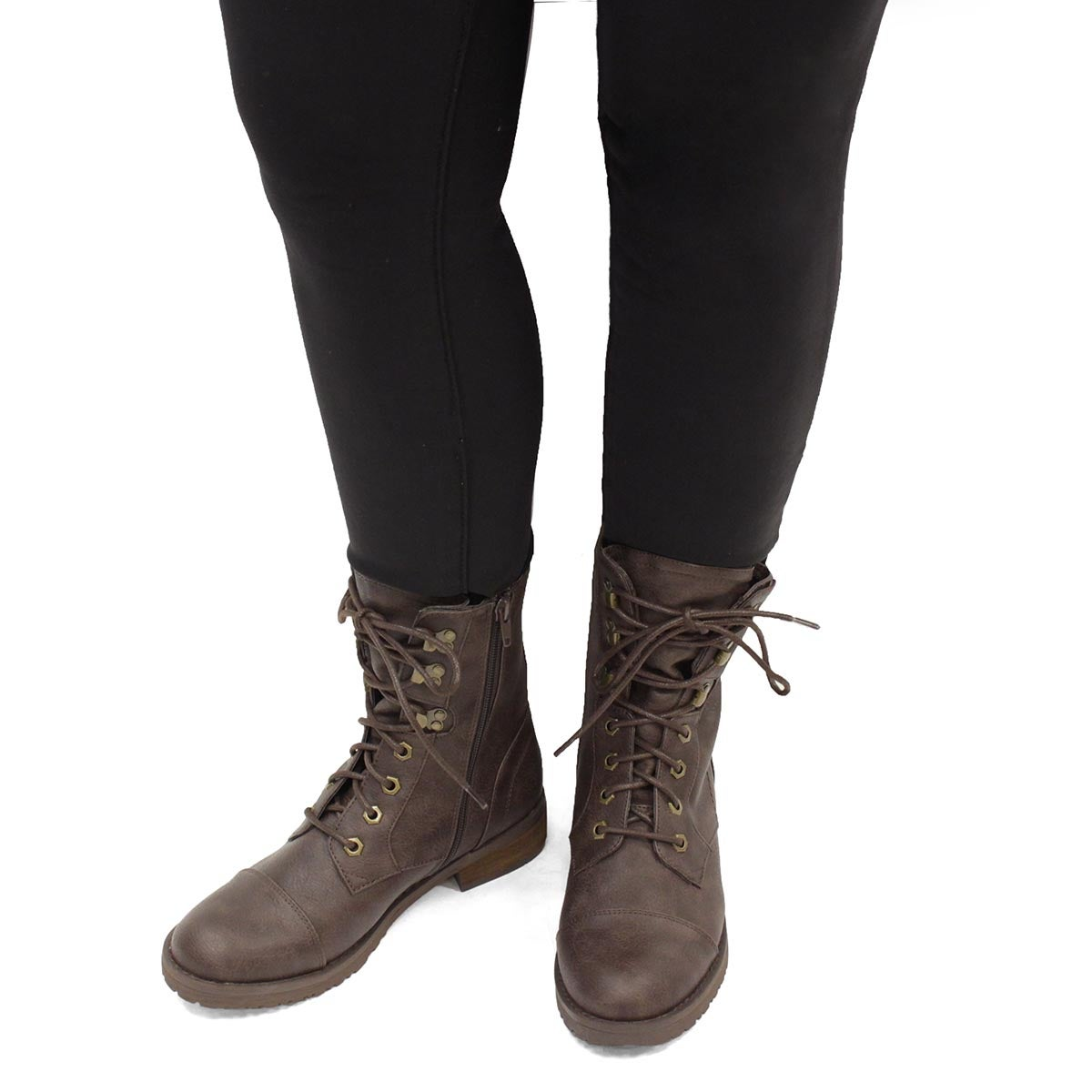 Lds Tegan 2 brown lace up combat boot