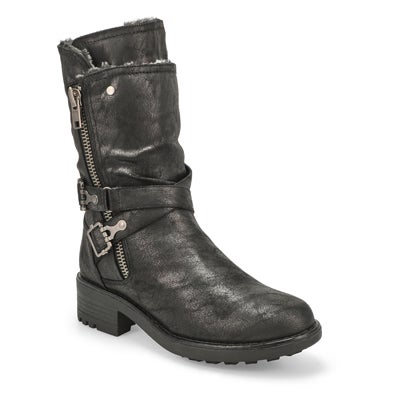 Lds Telina black fur lined combat boot
