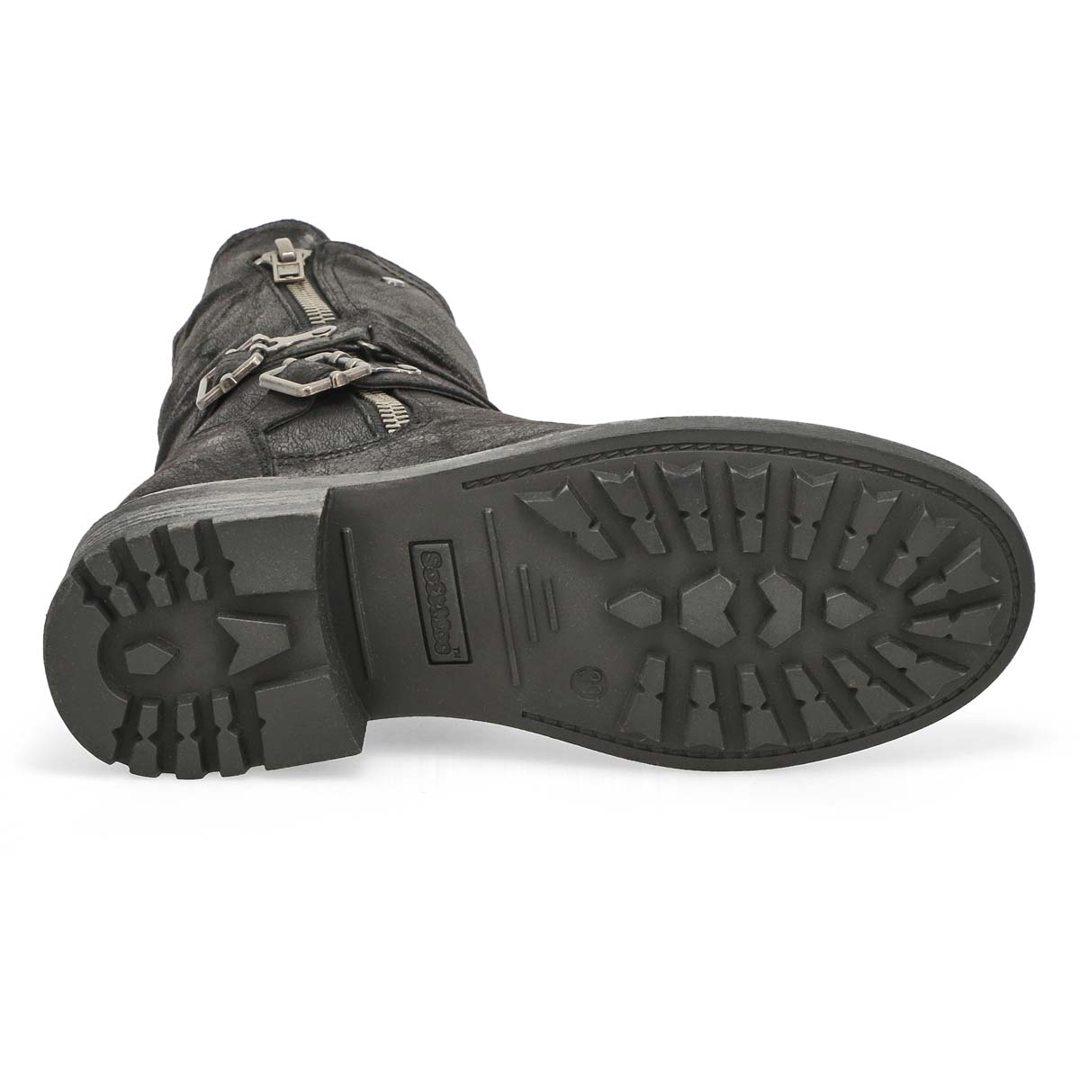 Lds Telina black fur lined combat boot