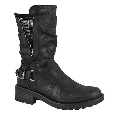 Lds Tessie black slip on combat boot