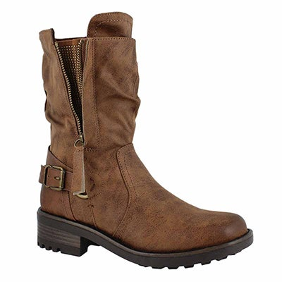 Lds Tessie tan slip on combat boot