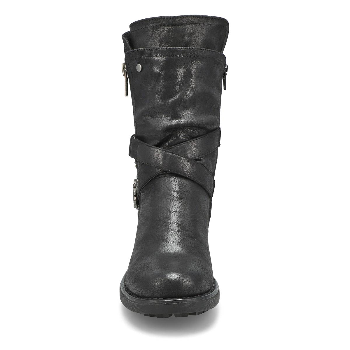 Lds Tessie 2 black slip on combat boot
