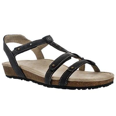 LdsThelma blk t-strap wdg sandal