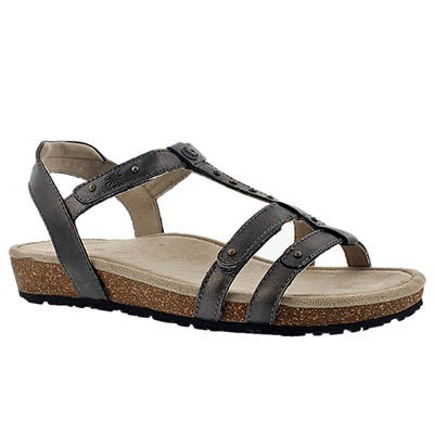 Taos Women's THELMA T Strap pewter wedge sandals