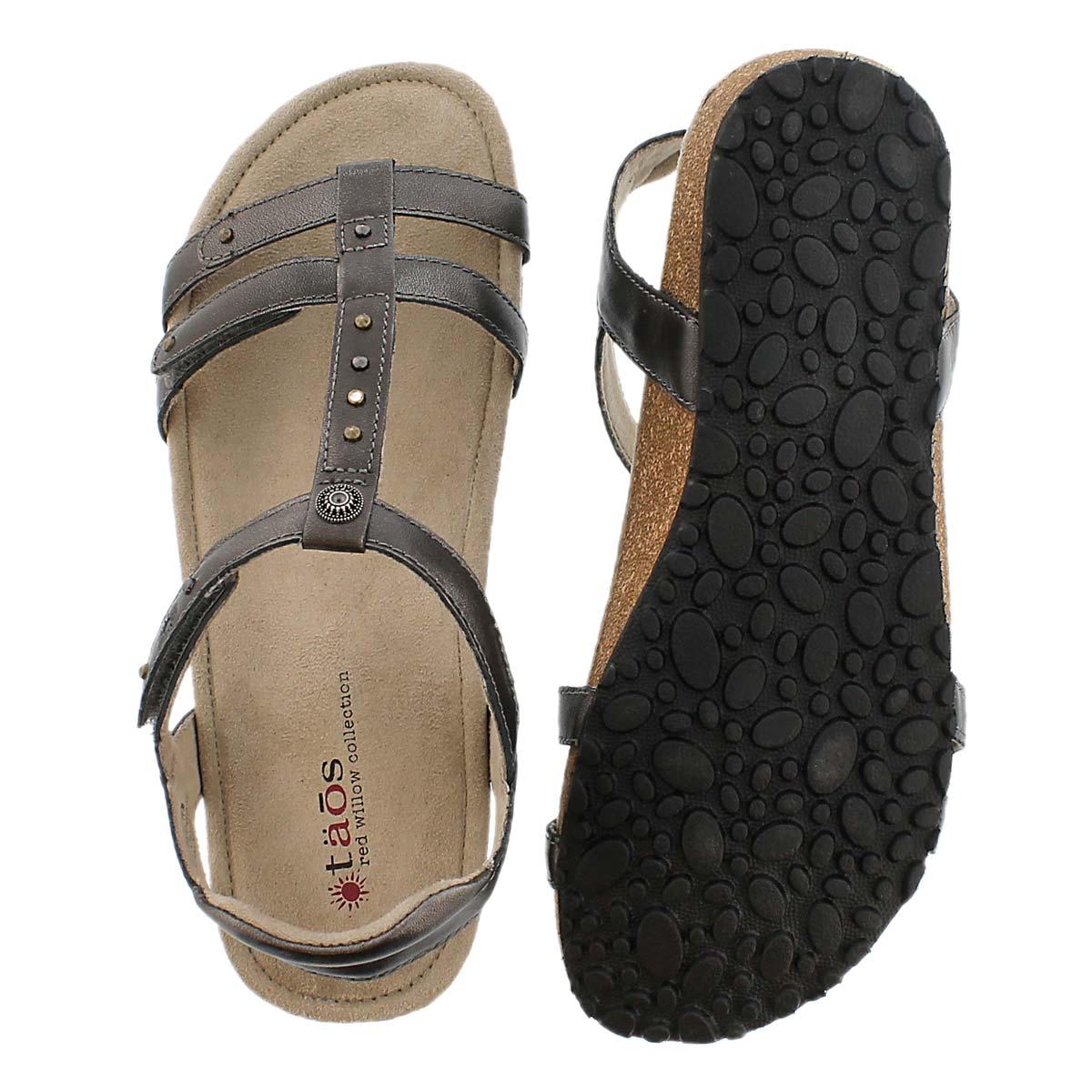 LdsThelma pewter t-strap wdg sandal