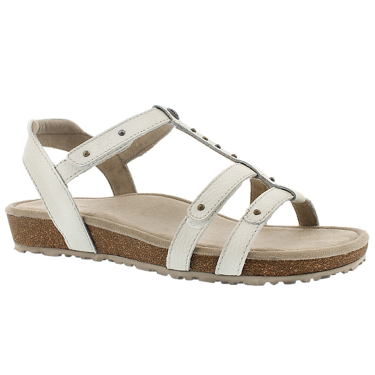 Women's THELMA T Strap white wedge sandals