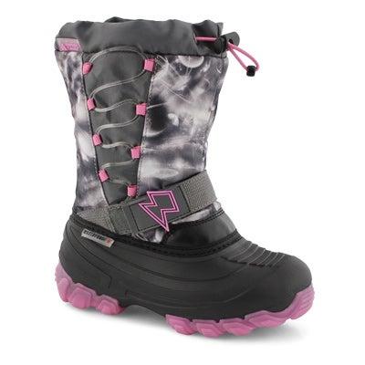 GrlsThunder gy/pk wp light up wntr boot