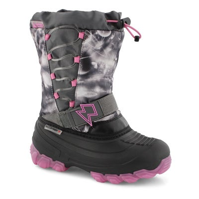 GrlsThunder gy/pk wp light up wntr boot