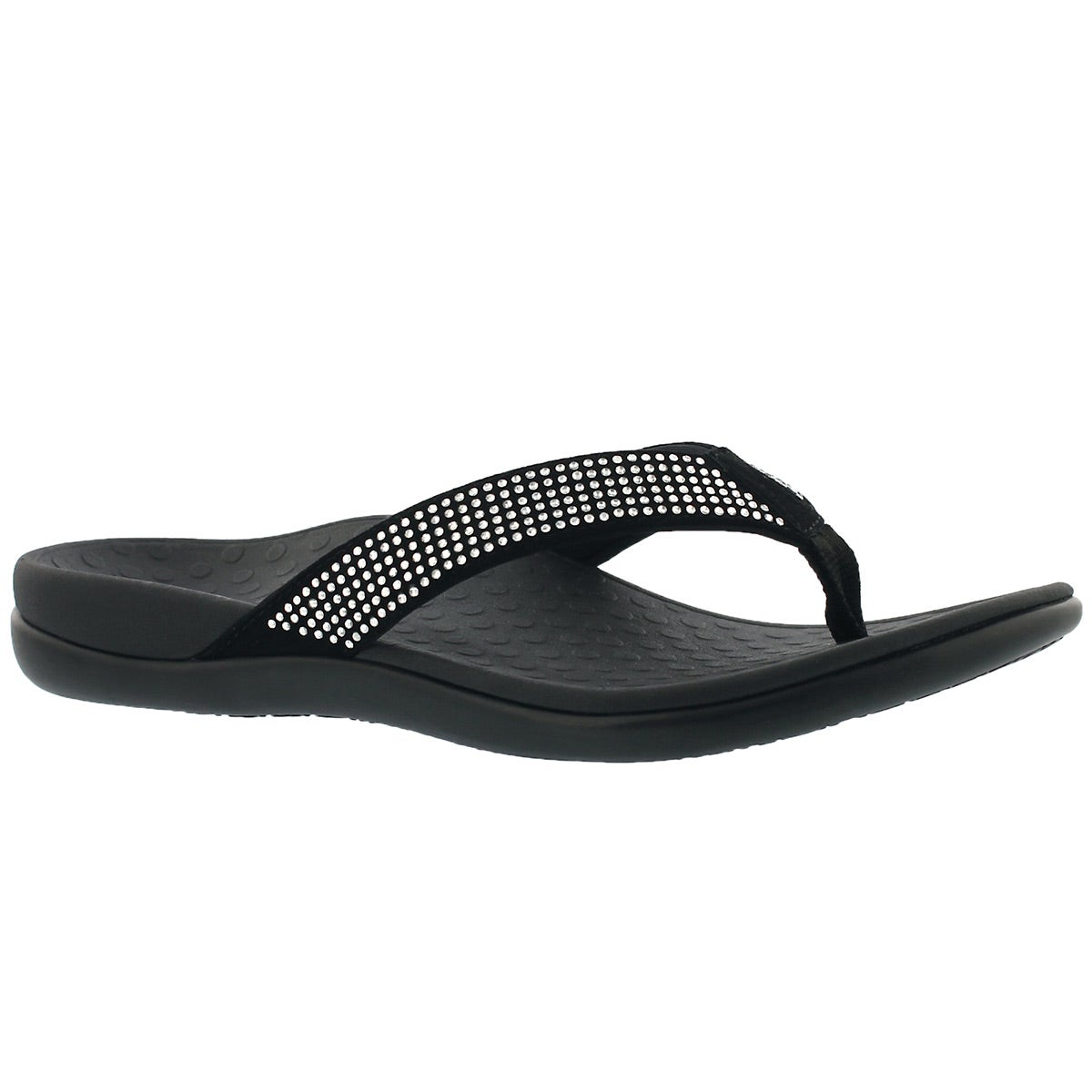 Women's TIDERHINESTONE black arch support thongs
