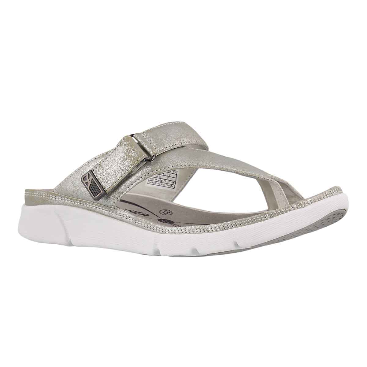 Women's TOKARA silver thong sandals