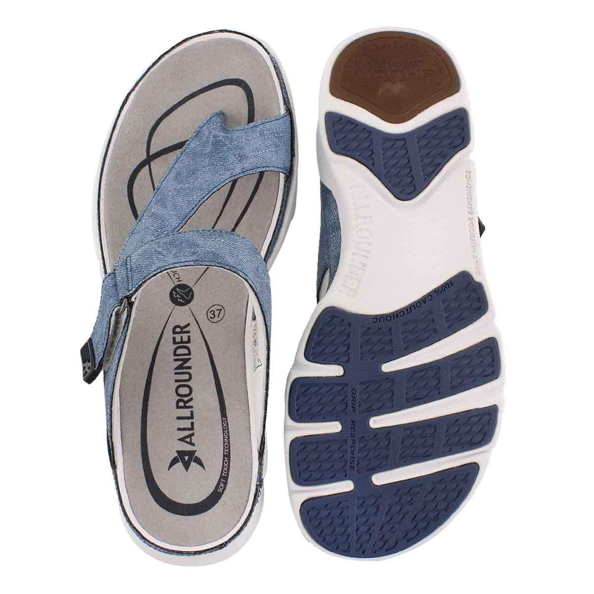 Lds Tokara jeans blue thong sandal