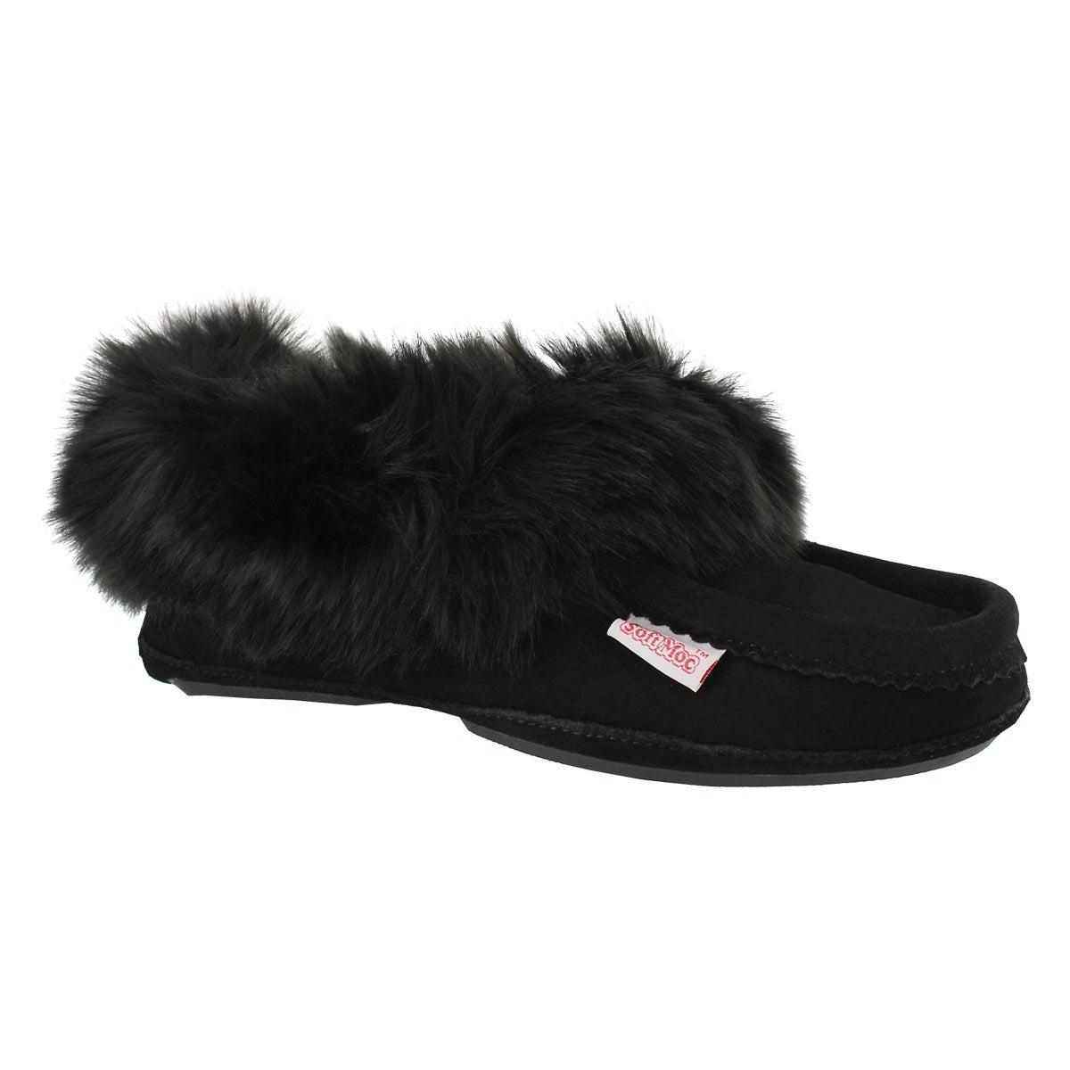 Women's TOO CUTE black lined moccasins
