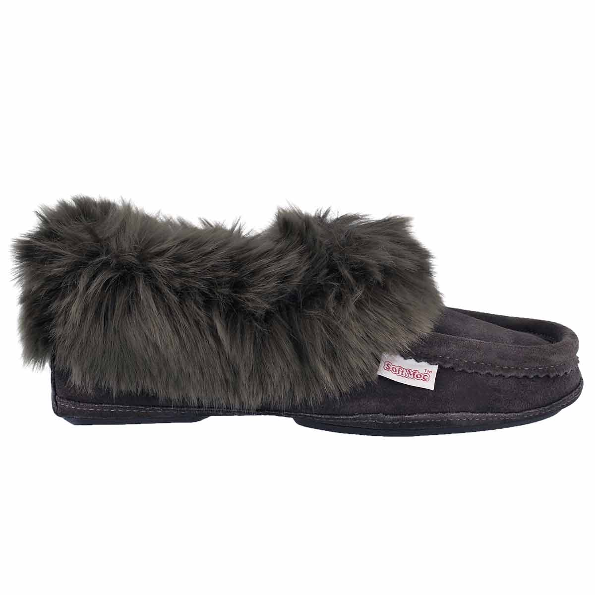 Lds Too Cute grey lined moccasin