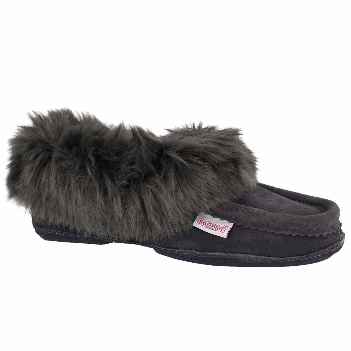 Women's TOO CUTE grey lined moccasins