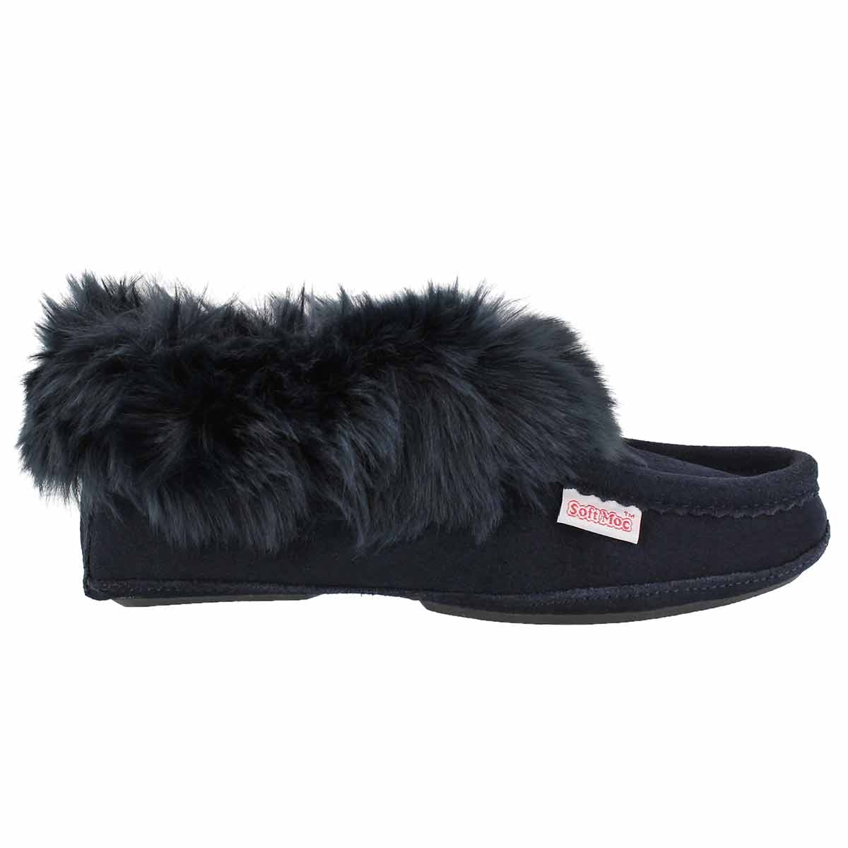 Lds Too Cute navy lined moccasin