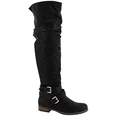 Lds Trina black knee high fold down boot