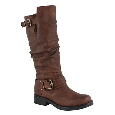 Lds Trisha tan wide calf knee high boot