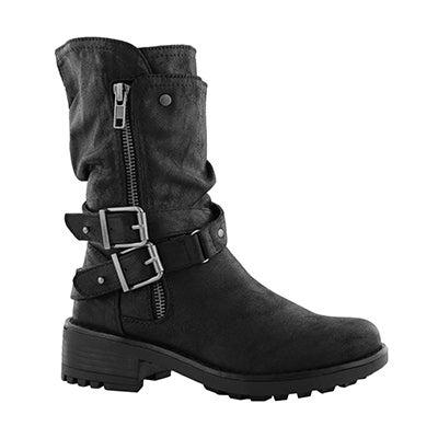 Grls Trixie black side zip combat boot