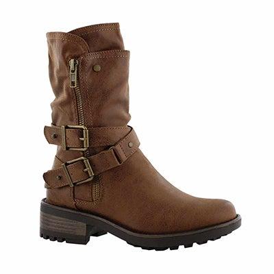 Grls Trixie tan side zip combat boot