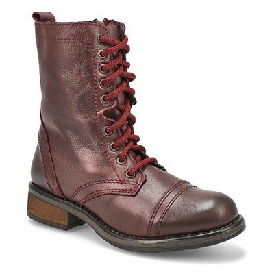 Steve Madden Women's TROOPA 4.0 burgundy lace up combat boots